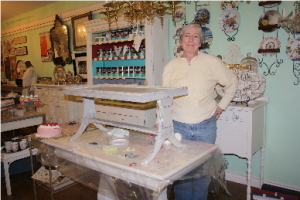 Margie with her finished table